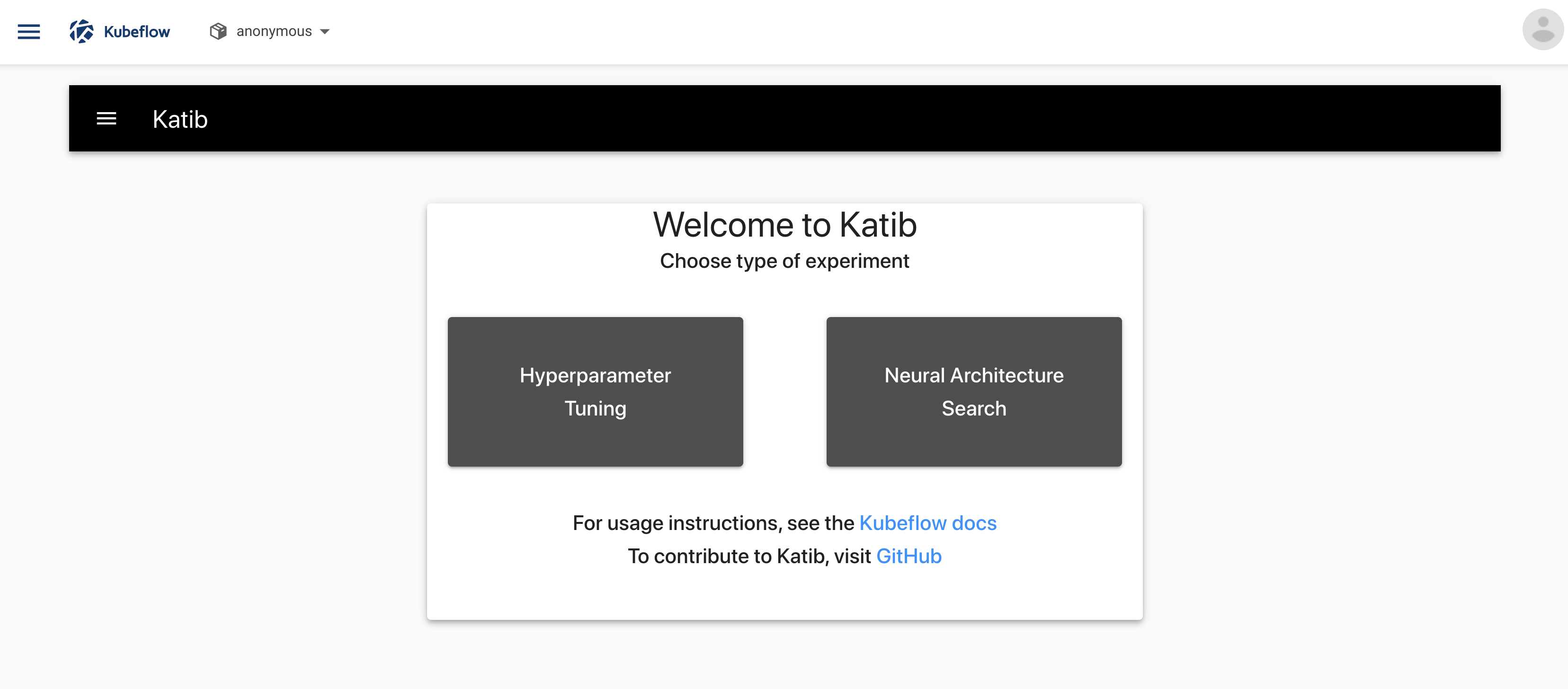 The Katib home page within the Kubeflow UI